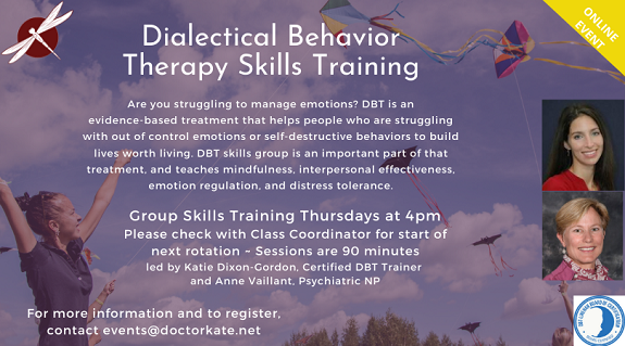 Dialectical Behavior Therapy Skills on Thursdays at 4pm
