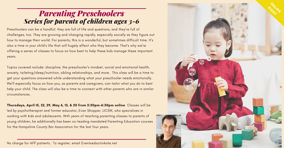 Parenting Preschoolers, Thursdays Apr 15, 22, 29, May 6, 13, 20 at 5:30pm
