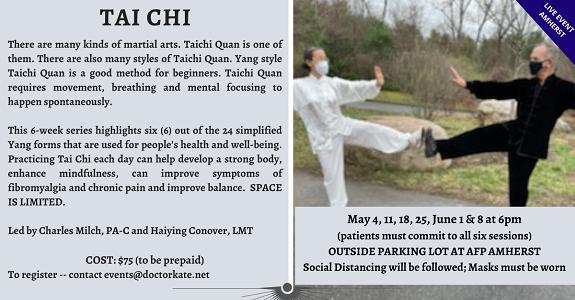 QiGong Series, April 30, May 7, 14, 21, 28 at 4pm. With Haiying Conover, LMT
