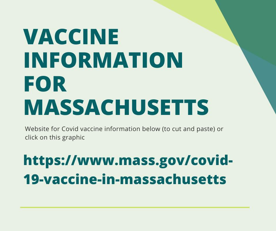 Vaccine info in MA -- https://www.mass.gov/covid-19-vaccine-in-massachusetts