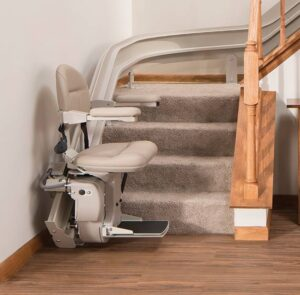 stair lift bruno elite curved indoor bottom of steps