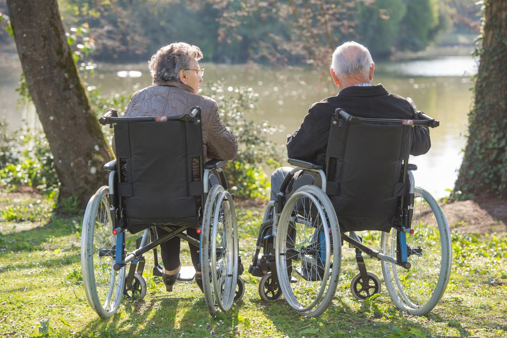 Elderly couple, each in a wheelchair, looking at a lake