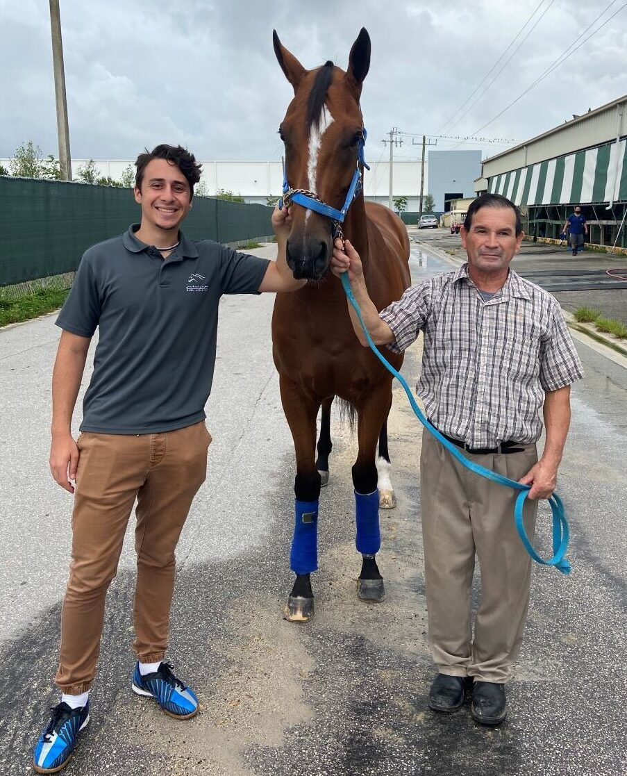Maurizio Sano, Bella Ciao, and groom Angel Mijangos at Gulfstream Park West. Photo courtesy of Alessandro Sano