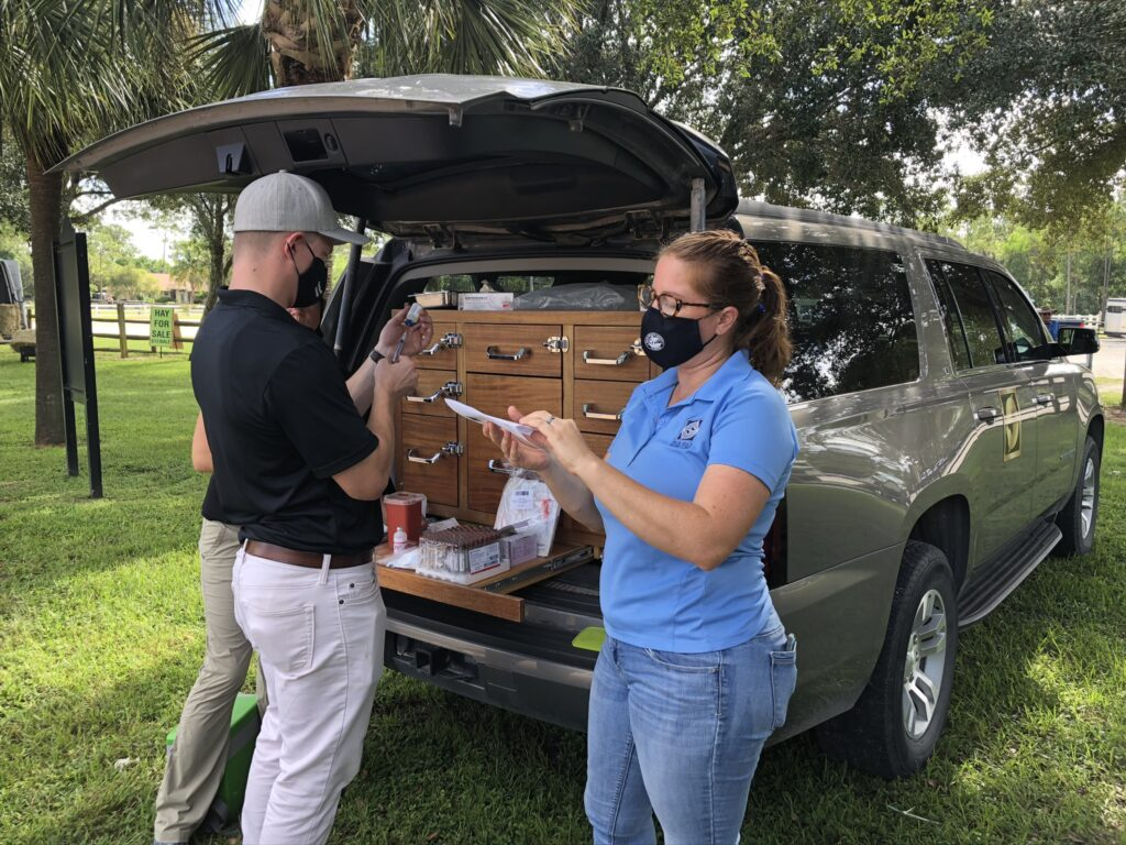 Palm Beach Equine Clinic provided veterinary services for horse owners as part of a new clinic series by the Acreage Landowners' Association, Western Equestrian Shows and Trails, and the Indian Trail Improvement District.