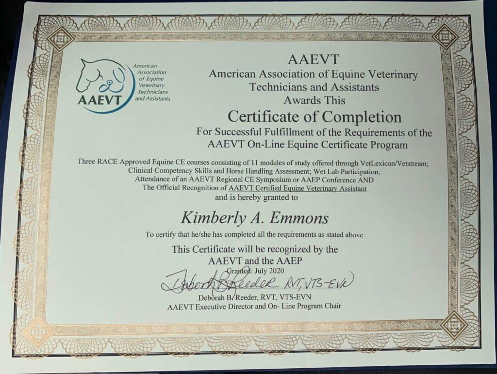 Kim Emmons American Association of Equine Veterinary Technicians Certificate