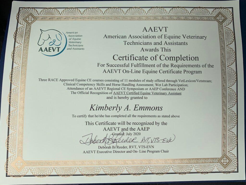 Kim Emmons American Association of Equine Veterinary Technicians Certificate