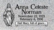 A marker for Anna Celeste Norman
