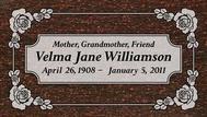 A marker for Velma Jane Williamson