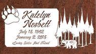 A marker for Katelyn Nesbett