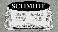 A marker for John and Marsha Schmidt