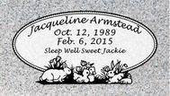 A marker for Jacqueline Armstead