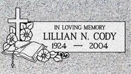 A marker for Lillian Cody