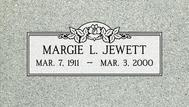 A marker for Margie Jewett