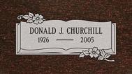 A marker for Donald Churchill