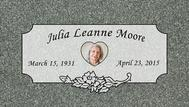 A marker for Julia Leanne Moore