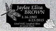 A marker for Jaylee Eliza Brown