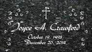 A marker for Joyce Crawford