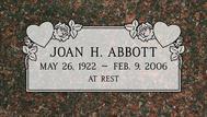 A marker for Joan Abbott