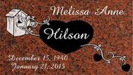 A marker for Melissa Anne Hilson