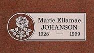 A marker for Marie Ellamae Johanson