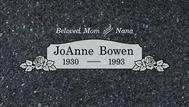 A marker for JoAnne Bowen