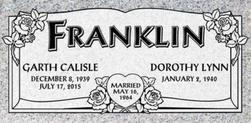 A companion marker for Garth and Dorothy Franklin