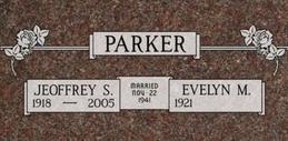 A companion marker for Jeoffrey and Evelyn Parker