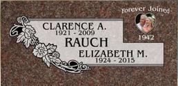A companion marker for Clarence and Elizabeth Rauch