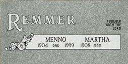 A companion marker for Menno and Martha Remmer