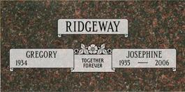 A companion marker for Gregory and Josephine Ridgeway