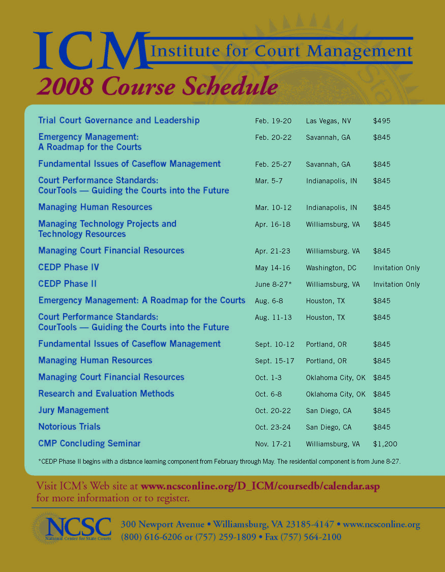 2008 Course Schedule