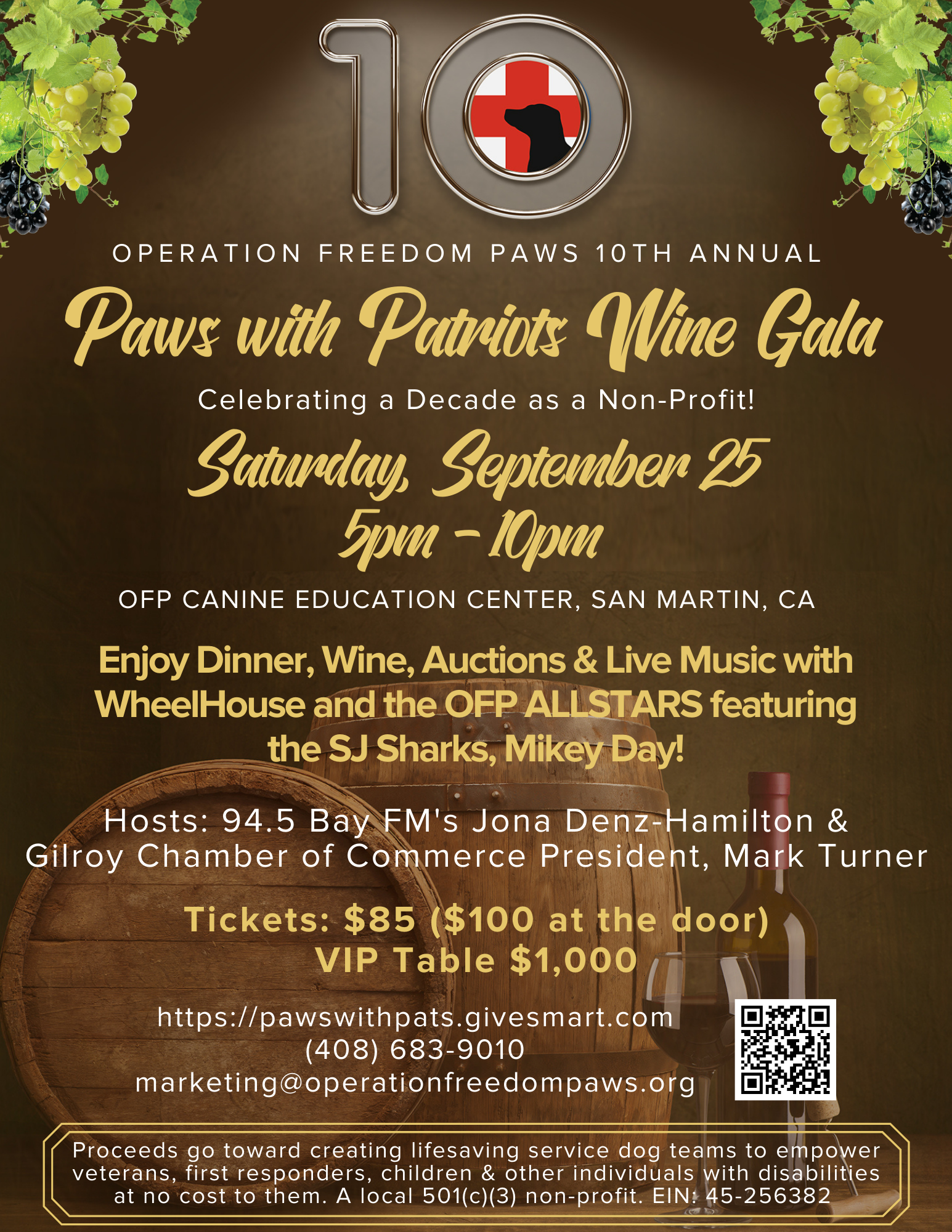 10th Annual Paws with Patriots Wine Gala 2021