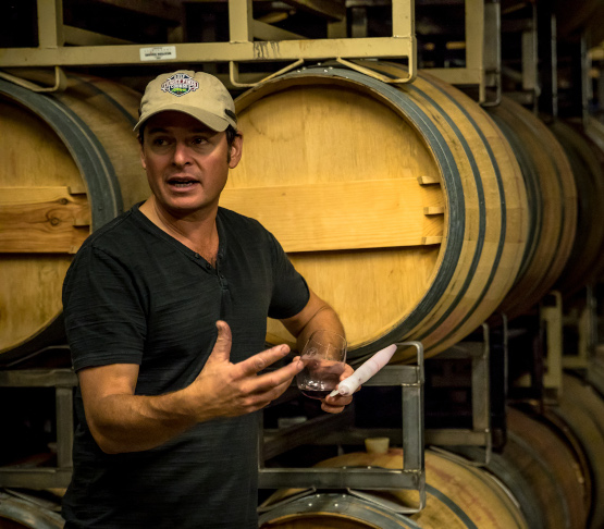 Rudy Zuidema Explaining Flash Détente in a Winery Barrel Room