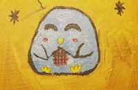 Painting of a knitting penguin