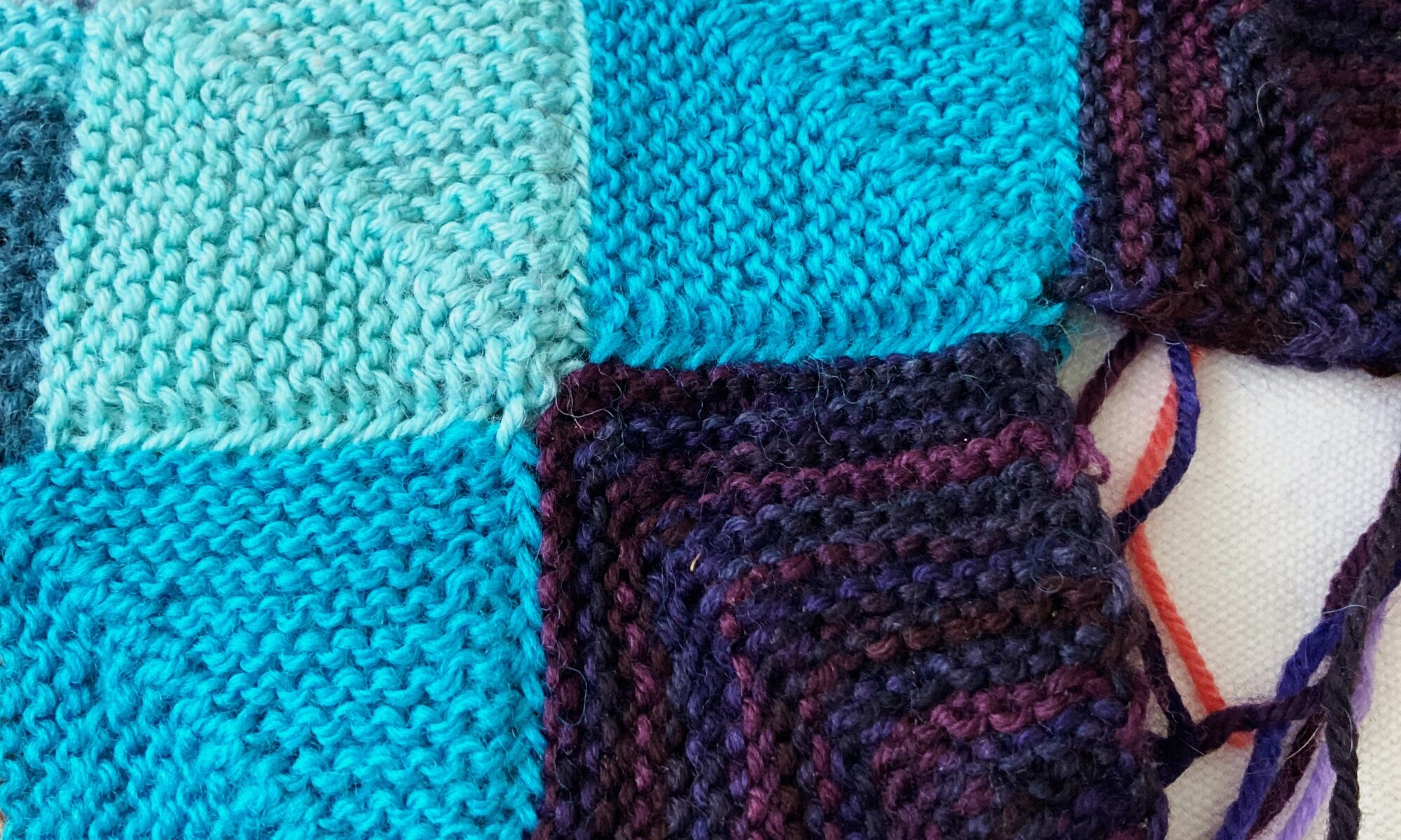 knitted patchwork blanket in progress