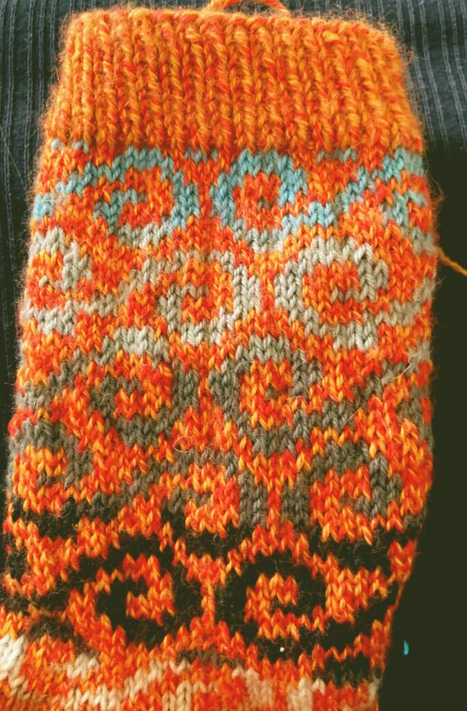detail of a colourwork sock