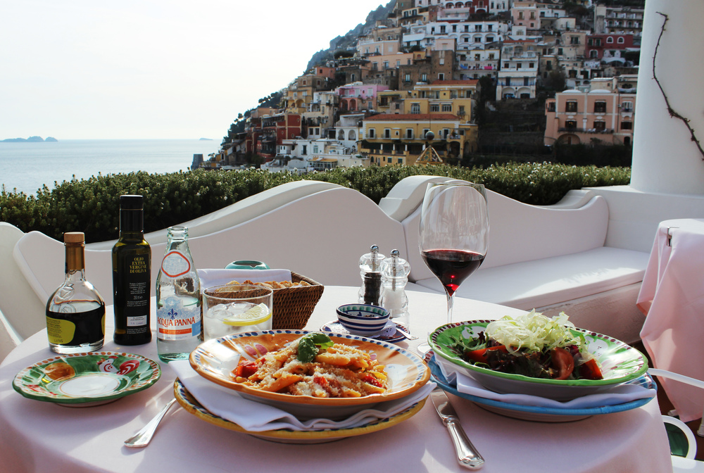 lunch in positano italian balcony view