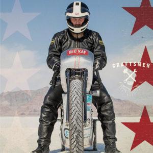 Matt Harris from 40 Cal Customs at Bonneville Salt Flats for Red Kap campaign