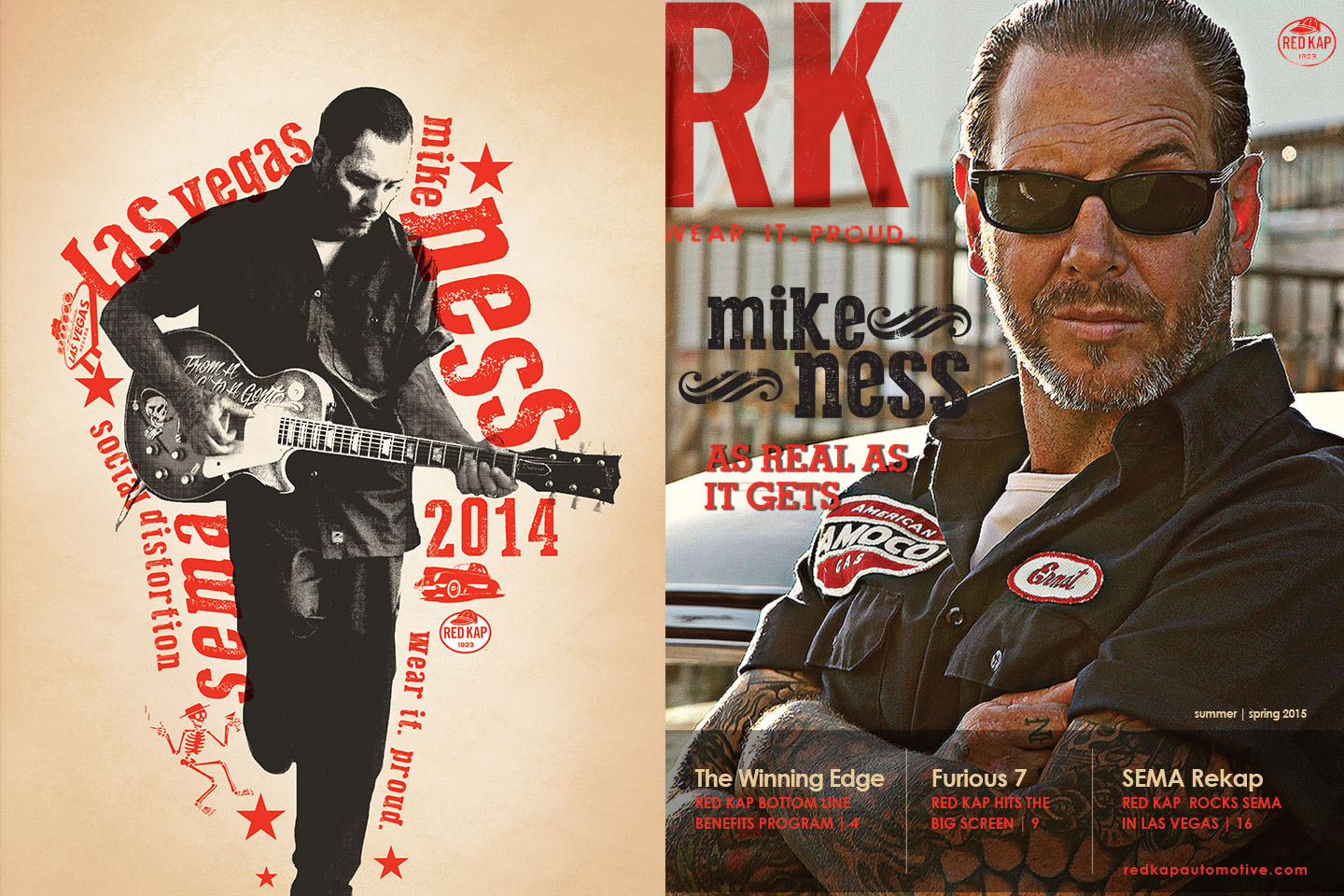 Mike Ness from Social Distortion SEMA signed poster and Red Kap newsletter