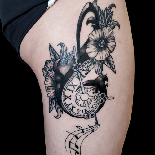 music note tattoo flowers clock spiral black and grey