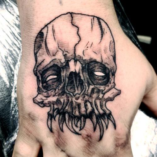 creepy demon skull blackwork dark artist tattoo hand men boy male