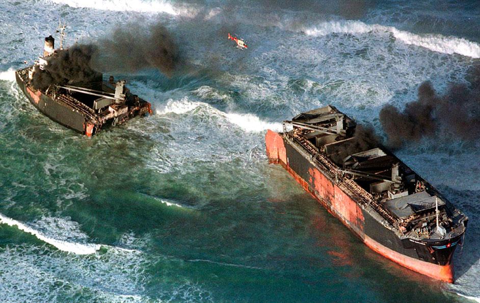 Burning ship cut into half