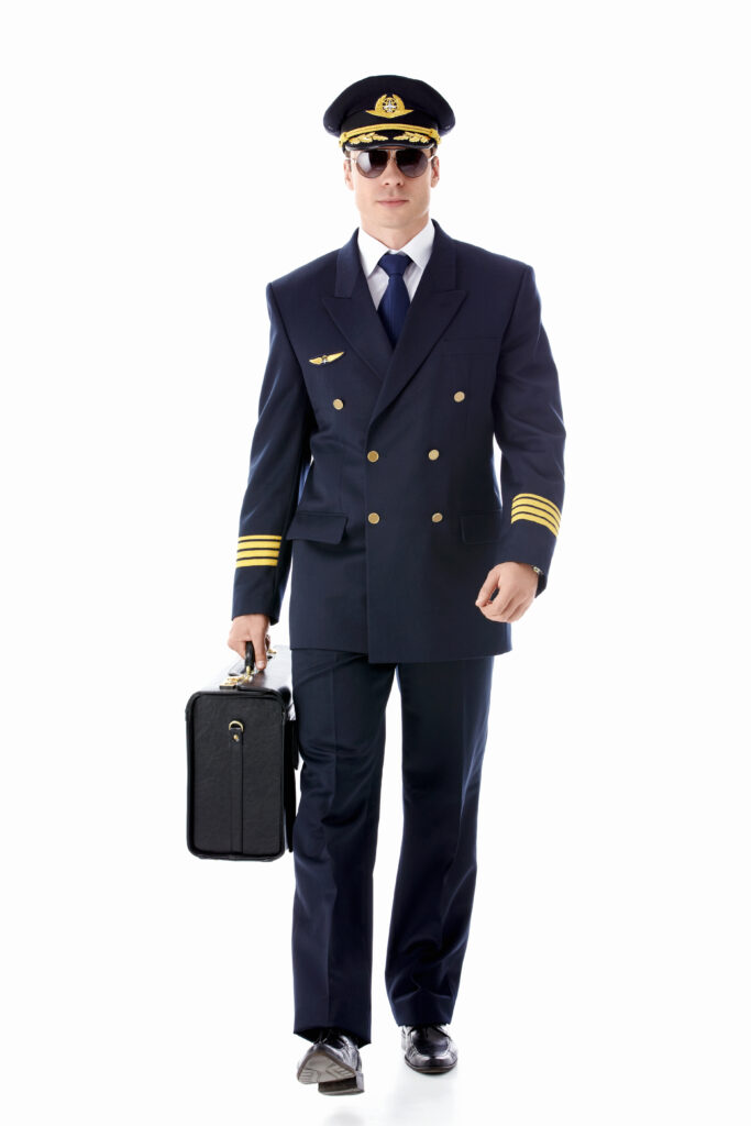 Picture of a captain. To illustrate a day in the life of an airline pilot.