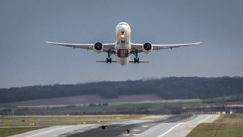 Boeing 777 taking off.