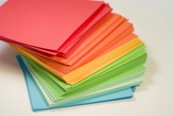 A pile of colored paper