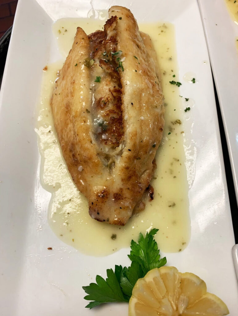 Dover sole stuffed with crab meat