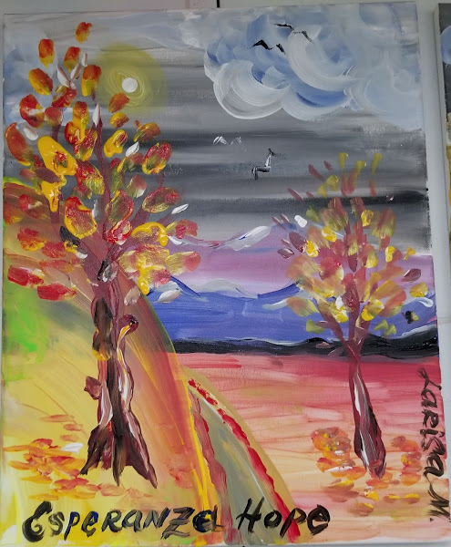 Painting of two trees on a road to a mountain signed Esperanza-Hope