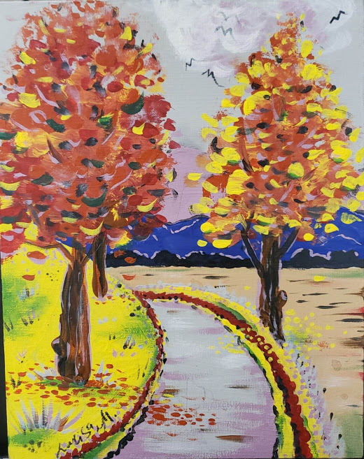 Painting of two trees on a road to a mountain with birds in the sky