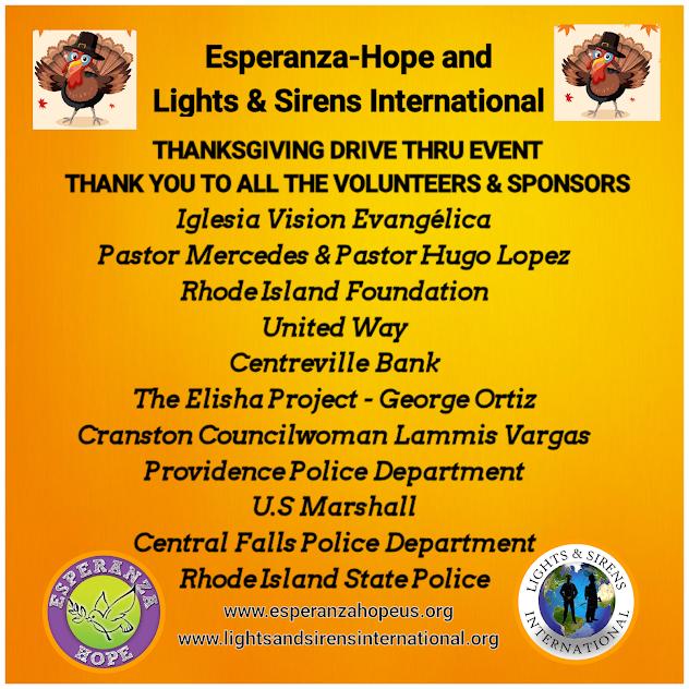 Esperanza-Hope and Lights & Sirens International Thanksgiving Drive Thru Event 2020 online poster