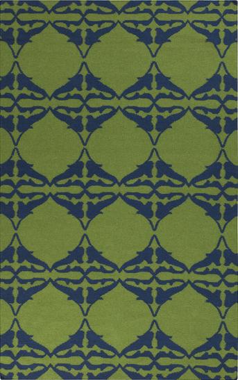 Blue and Green Geometric Print Rug